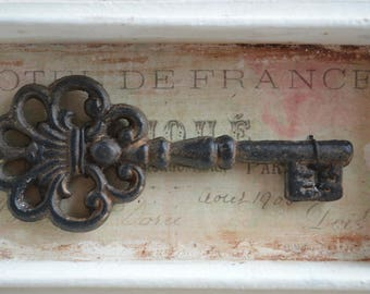 Framed Key, Shadow Box Display Case, Display Box, Shadow Box Art, Key Art, Skeleton Key, French Country, French Decor, Shabby, Wooden Box