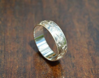 Hand Engraved Silver Brocade Ring || US Size 8 || 6mm