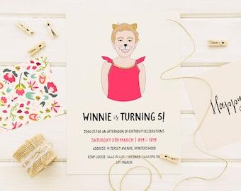 Birthday Invitation, Digital Custom Portrait, Printable Party Invite, Girls Birthday, Child Portrait, Illustration