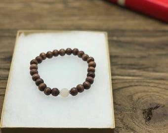 Pink Aventurine Bracelet, Wood Bracelet, Wood Bead Bracelet, Gemstone Wood Bracelets, Wooden Bead Bracelet, Earthy Bracelet, Boho Bracelet