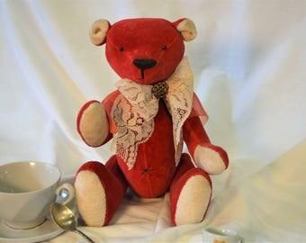 Teddy Bear, Toy Teddy Bear, Red Teddy Bear, Handmade Teddy Bear, Sewn Bear, OOAK Teddy, Teddy Bear Boy, Gift Teddy Bear, Collectible, Chris