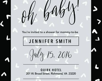 Edgy 5x7 Black & White Baby Shower Invitation - Customizable! (15 count)