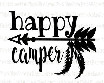Happy Camper SVG Clipart Cut Files Silhouette Cameo Svg for Cricut and Vinyl File cutting Digital cuts file DXF Png Pdf Eps