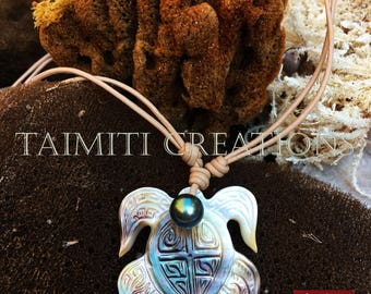 Carved Clear Mother of Pearl Turtle and Polynesian Black Pearl Necklace