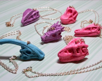 Cute Pastel Dinosaur Skull Necklaces! * Pink Blue Lilac * Kawaii Science Zoology Animals Quirky