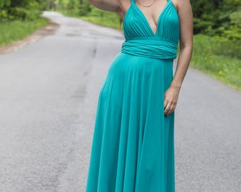 Plus size turquoise infinity dress, Plus size turquoise convertible dress, Plus size turquoise multiway dress, plus size turquoise maxi