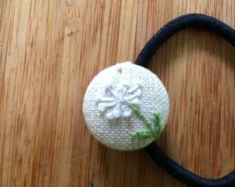 Dandelion Embroidered Ponytail Holder
