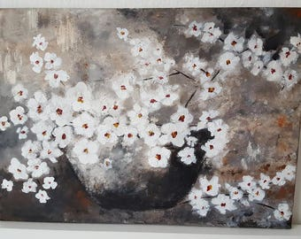 Contemporary Still Life Painting, Abstract Flowers Painting on Canvas