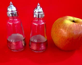 Vintage Salt & Pepper Shakers; Silver-plated and glass