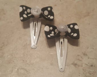 Black White Elastic Bows White Button Center White Snap Clip