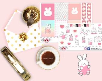 Cute Rabbit Erin Condren Valentine Mini Planner Kit, Valentine's Day Mini Kit, Rabbits In Love Kit, Scrapbook Sticker, Planner Accessories
