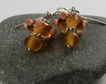 Hand crafted glass bead dangle earrings
