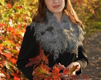 Gray felt scarf Fur felted scarf Elegant wool scarf Fur wool collar merino wool neckwarmer Women felt shawl  Trending now Large fur collar