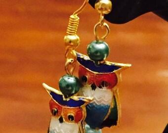 Cloisonne Owl drop earrings in gold tone setting