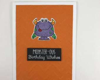 Fun Colorful Silly Monster with Google Eyes Kid Birthday Card Chevron Pattern for Boy Girl Child