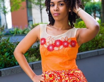 Peplum African Print Top with Applique, African clothing, Ankara Top