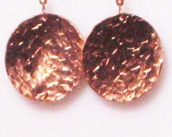 Round Copper Hammered Earrings