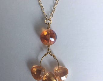 Orange Crystal Beaded Pendant Gold Necklace