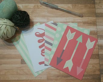 Note Cards blank, Set of 5 with envelopes, Thank you cards, Get well cards,Happy birthday cards, Get well cards, Just because cards