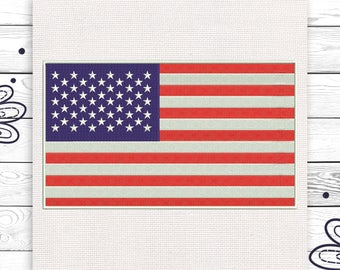 USA flag Machine Digital embroidery design 4 sizes INSTANT DOWNLOAD EE5038