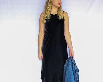 Vintage Black Velvet Sleeveless Maxi Dress | Midi | 80s | 90s