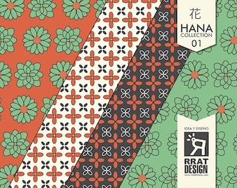 Floral digital wallpaper, floral motif for decorating, orange, flower, wallpaper, invitations, green, I, wedding, scrapbooking, Origami.