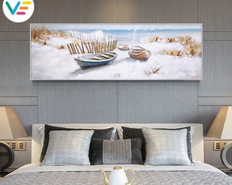 Acrylic Painting Textured Canvas Relief Sea Boat, Wall Art, Sculpture, 3D Art, Contemporary Artwork, Home-Office-Business, 100% Handpainted