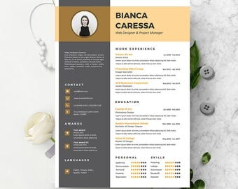 Modern Resume Template Instant Download | CV template + Cover Letter | DIY Printable | Professional and Creative Resume Design |