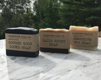 3 BARS - Borestone Soap Variety Pack (Rugged Good Looks, Daily Grind, & Sensitive Guy)