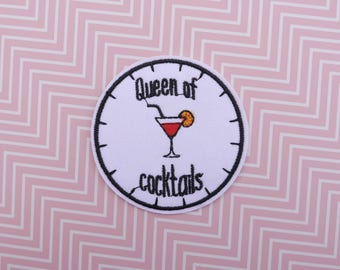Patch Cocktail - Patch Queen of Cocktails - Patch bartender - Patch Thermo - Applique Cocktail - Cocktail Iron on patch