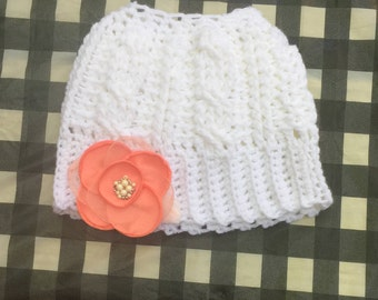 Hat, woman's crochet bun hat