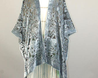 Grey floral burnout velvet fringe tassel handmade kimono jacket One SIze fits all