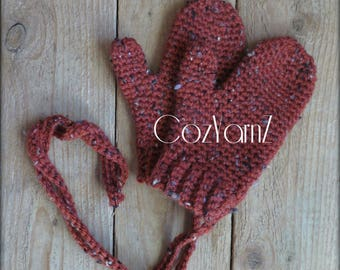 MITTENS!  Red mittens with attached strings, Toddler mittens, crochet mittens with strings, children's mittens with strings, unisex mittens