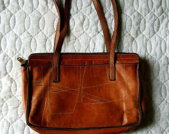Vintage Leather Patchwork Tote Purse