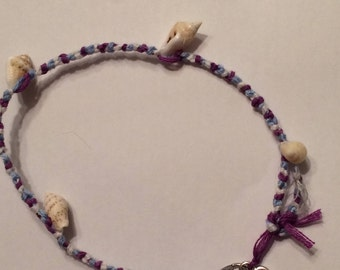 Blue, Purple, and White Friendship Anklet