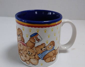 Vintage 1987 Potpourri Press Marvelous Mugs Teddy Bear Family Eating Donuts Coffee Mug