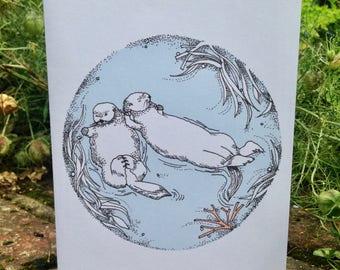 Let's Stick Together Otter Card
