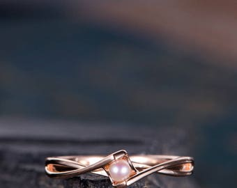 Pearl Engagement Ring Rose Gold Bridal Promise Ring Solitaire Infinity Curved Cross Band Anniversary Gift For Her Eternity Women Unique