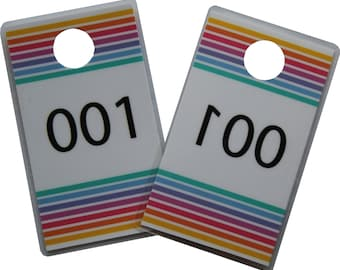 ACTUAL SIZE!! Handmade Laminated Plastic Live Sale Hanger Tags with Mirrored Back Number