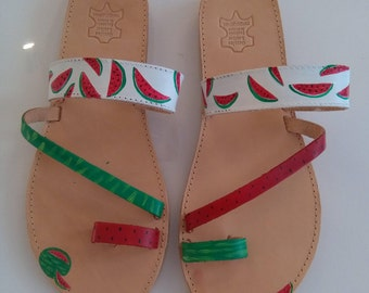 handmade handpainted greek leather sandals watermellons