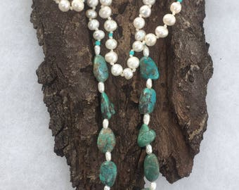 "Turquoise and pearl 21"" necklace with sterling silver clasp with matching earrings"