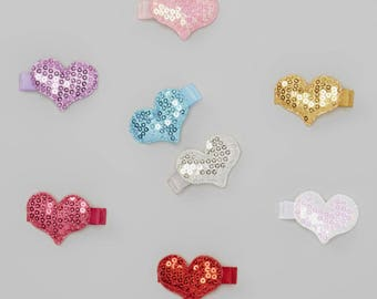8 Pack heart sequin clip set, baby hair clips, sequin heart hair clips, toddler girl hair accessories