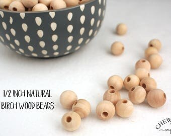 1/2 in (12mm) Half Inch Unfinished Birch Wood Beads - Teething supply beads - Natural Non-toxic Round Beads With 5/32 inch holes