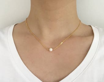 Freshwater Pearl Choker Necklace, Gold Necklace, Single Pearl Necklace, Simple Pearl necklace, Delicate Necklace, Gift For Her