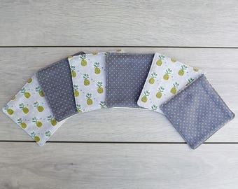 6 wipes washable pineapple/grey polka dots