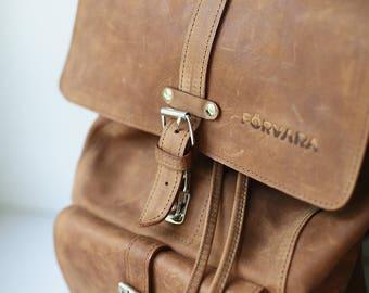 "Backpack genuine leather ""Tarkka"" - polle"