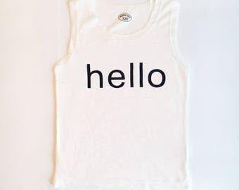 8T Soft White Hello Tank Top