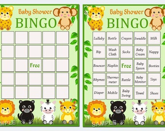 jungle baby shower bingo, 60 jungle Baby Shower Bingo Cards - zoo  baby shower Bingo Card , Printable Blank Bingo Cards AND PreFilled Cards