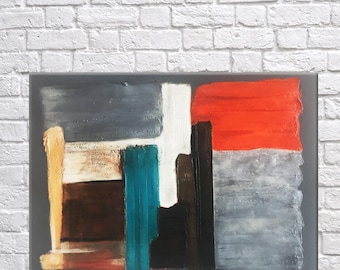 Original abstract art painting, mixed media, acrylic painting, textured art, modern art, contemporary art, grey, teal, orange, grey, canvas
