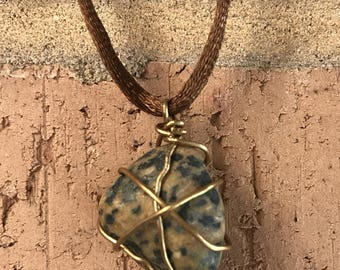 Speckled Brown and Black Wire Wrapped Rock Necklace